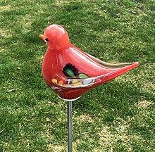 Vogel - Spatz mit Flügel auf Stab rot Glas H 132