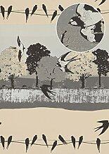 Vogel Tapete Atlas SIG-385-2 Vliestapete glatt mit Landschaften und metallischen Akzenten grau anthrazit perl-hell-grau perl-weiß 5,33 m2