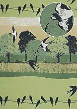 Vogel Tapete Atlas SIG-385-5 Vliestapete glatt mit Landschaften und metallischen Akzenten grün blass-grün graphit-grau gold 5,33 m2