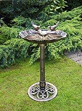 Vogelbad mit Bronze-Effekt, Polyresin,