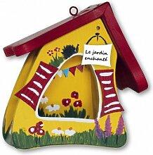Vogelfutterhaus Futtermini Gartenlaube gelb