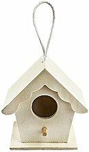 Vogelhäuschen Holz, Design 2, 9x9x6cm, mit