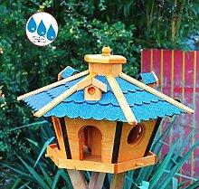 Vogelhaus BTV wetterfest, mit Silo/Futtersilo für Winterfütterung,Gartendeko aus Holz blau grau BR60blOS Vogelhäuser