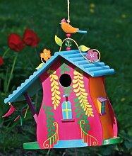 VOGELHAUS Designer-Villa 2 Nistkasten aus Holz Höhe ca. 30 cm Gartendeko, Modell:Dach. blau