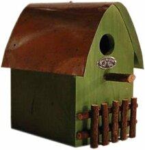Vogelhaus Futterhäuschen aus Holz mit Blechdach grün Deko Garten