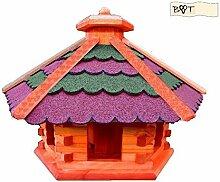 Vogelhaus, Gartendeko aus Holz Großes Vogelhaus, B40r-gGOS ohne Ständer Bitumenschindeln