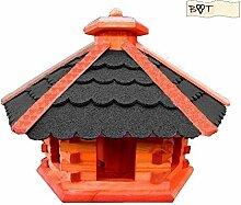 Vogelhaus, Gartendeko aus Holz Vogelhaus, große Vogelvilla Vögel B40atOS Vogelhaus, schwarz anthrazi