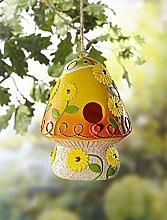Vogelhaus im Pilz Design, aus Metall, gelb