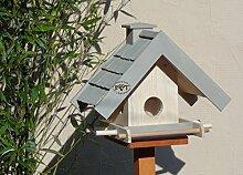 vogelhaus,mit Futterspender,K-BEL-VOWA3-grau001