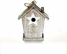 Vogelhaus mit Tür, Sterndruck, Einflugloch, Tannenholz und Zink, ca. B23 x T13 x H26 cm