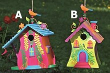 Vogelhaus Villa Kunterbunt Nistkasten Gartendeko Holz lackiert - H24cm (Variante B)