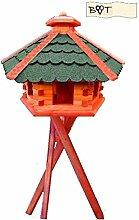 Vogelhaus, Vogelfutterhaus mit Ständer, 44 cm grün, Futterhaus wetterfes