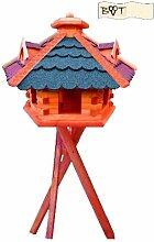 Vogelhaus, Vogelfutterhaus mit Ständer, 62 cm, mit Silo + Fett-Spender, dunkelrot-blaugrau E, Futterhaus wetterfes