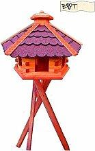 Vogelhaus, Vogelfutterhaus mit Ständer, 62 cm rot, Futterhaus wetterfes