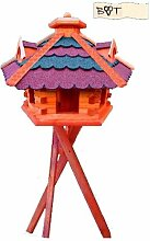 Vogelhaus, Vogelfutterhaus mit Ständer,68 cm, mit Silo + Fett-Spender, rot-blau G, Futterhaus wetterfes