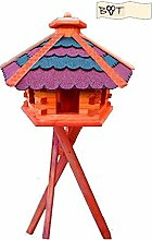 Vogelhaus, Vogelfutterhaus mit Ständer,68 cm rotblau G, Futterhaus wetterfes