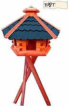 Vogelhaus, Vogelvilla MEGA-XXL Vogelhaus, Gartendeko aus Holz mit BLAU mit Ständer B70blMS Vogelhaus