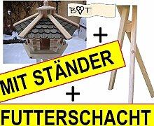 Vogelhaus, Vogelvilla mit Ständer, 44 cm Holz-Schindel schwarz, Futterhaus wetterfes