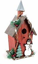 Vogelhaus Winterzeit am Stab aus Holz - Dekoration Garten Weihnachten