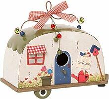 Vogelhaus Wohnwagen Camper zum Hängen Holz Blechdach