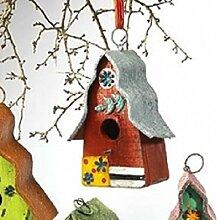 Vogelhaus zur Dekoration ROT-GRAUBLAU 16x21cm