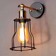 Vogelkäfig-Wandlampe des Weinleseschmiedeeisens