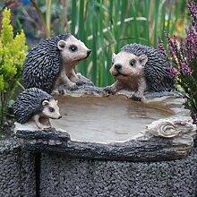 Vogeltränke Igel Igelfamilie Gartenfigur
