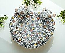 Vogeltränke Magnesi Mosaik grau Steindesign Breite 26 cm, Tränke, Gartendeko, Garten
