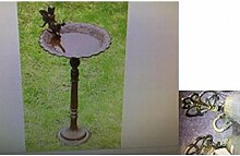 Vogeltränke mit Ständer grün-antik Gartendeko