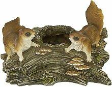Vogeltränke mit zwei Eichhörnchen Gartenfigur