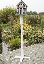 Vogelvilla Bergen mit Ständer, Vogelvilla mit Weißem Holz Ständer und Bodenanker