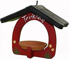 Vogelvilla Trinkhalle gelb weiß rot Vogelhaus Trinken Vogel Tonschale Gartendeko Deko Metallhaken NEU, Farbe:Ro