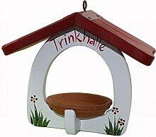 Vogelvilla Trinkhalle gelb weiß rot Vogelhaus Trinken Vogel Tonschale Gartendeko Deko Metallhaken NEU, Farbe:Weiß