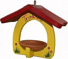 Vogelvilla Trinkhalle gelb weiß rot Vogelhaus Trinken Vogel Tonschale Gartendeko Deko Metallhaken NEU, Farbe:Gelb