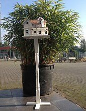 Vogelvilla Wassenaar mit Ständer, Vogelvilla mit Weißem Holz Ständer und Bodenanker