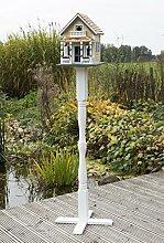 Vogelvilla Zaanstad mit Ständer, Vogelvilla mit Weiße Holz Ständer und bodenanker