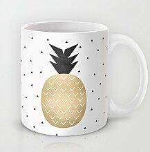 Vogue Ananas Kaffee Tasse Funny Tropical Kaffee Tasse 11Oz Keramik Tasse für Kaffee Milch Saft oder Tee Tassen Becher Geschenk für Weihnachten Geschenke für Männer Geschenk für Frauen