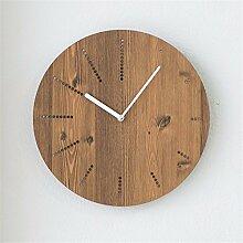 Vogue Wohnzimmer Wand Uhr Quarz Runde, einfache Holzwand Uhr modernen chinesischen Stil stumm Holzwand Diagramme