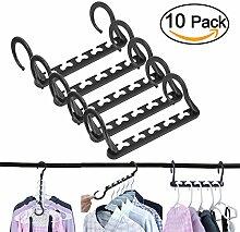 voilamart 10Stück Magic Kleiderbügel Kunststoff Stauraum SAVER Hanger Aufbewahrung Organisatoren Wonder Aufhänger