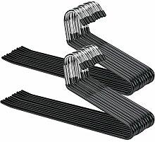 voilamart 30x Hosen-Kleiderbügel, 36cm rutschfest, Edelstahl-Kleiderbügel, offenes Design für Hosen und Jeans, einfaches Aufschieben, Schwarz