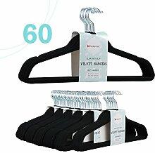 Voilamart 60 Stück Kleiderbügel Anzugbügel Jackenbügel Wäschebügel mit Samtiger Oberfläche 39Rutschfest Platzsparend Schwarz/ Grün