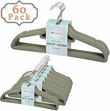 Voilamart 60 Stück Kleiderbügel Anzugbügel Jackenbügel Wäschebügel mit Samtiger Oberfläche Rutschfest Platzsparend Grün