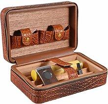 Volenx Zigarren Humidor Crocodile Getreide Leder mit Kristall Befeuchter, Zigarrenschneider, Zigarrentube - 5 Zigarren (rotbraun)