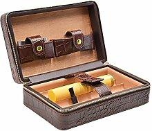 Volenx Zigarren Humidor Crocodile Getreide Leder mit Zigarrenschneider, Zigarrentube - 5 Zigarren (braun)