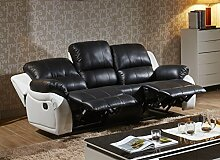 Voll-Leder Fernsehsessel Couch Sofa-Garnitur Relaxsessel Polstermöbel 5129-3-SW sofor