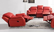 Voll-Leder Sofagarnitur Fernsehsofas Relaxsofas 5129-3+1-8401