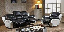 Voll-Leder Sofagarnitur Fernsehsofas Relaxsofas 5129-3+1-SW