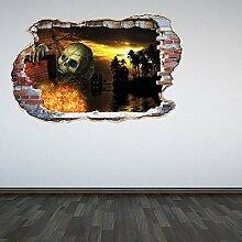 Volle Farbe Piraten Skelett Karibik Zertrümmert Wand 3D Effekt Unter dem Meer Schlafzimmer Wandsticker Aufkleber Kinder Schlafzimmer-dekoration - Regular