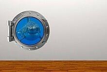 Volle Farbe Shark Bullauge Ozean Wandsticker Aufkleber Kinder Schlafzimmer-dekoration - Medium