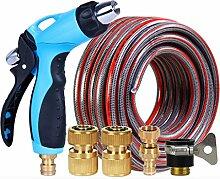 Volles kupfernes Auto-Wäsche-Wasser-Gewehr Hochdruck-Metallbewässerungs-Wasser-Spray-Gewehr-Wasser-Rohr 6 Schicht Anti-Verzerrung der Wand-Temperatur ( größe : WATER GUN+10M PIPE )